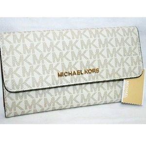 Michael Kors trifold large wallet vanilla white